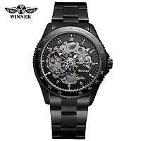 WINNER 010 Men Watch Semi-Automatic Mechanical Watch Time Display Fashion Casual Stainless Steel Strap Male Wristwatch