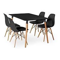 Bộ bàn TH04  4 ghế 600x1200x750mm - Đen