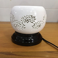 Đèn xông tinh dầu điêu khắc hoa cúc Lasante DDK-06