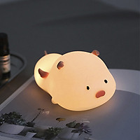 Đèn ngủ không dây heo con thiên sứ 7 chế độ ánh sáng sạc USB