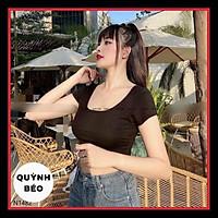 Áo croptop cổ vuông nữ chất bozip lạnh kiểu bó ôm body basic trơn Taosan, ao thun co chữ U n