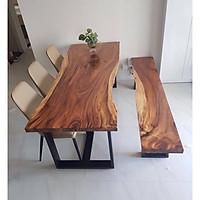 Bàn ăn gỗ me tây nguyên tấm kích thước 180 cm x 70-75 cm x 5 cm + băng ghế 180cm x 30 cm x 5 cm