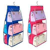 Bộ 02 Giá treo 6 ngăn bảo quản túi xách, phụ kiến chống bụi bẩn cao cấp