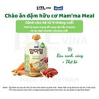Cháo ăn dặm hữu cơ Mam'ma meal vị rau vàng, rau xanh và thịt bò 9M