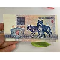Tiền 5 Rubles của Belarus hình con chó , ở châu Âu , tặng phơi nylon bảo quản tiền