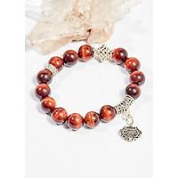 Vòng tay phong thủy đá mắt hổ nâu đỏ charm túi như ý 10mm mệnh hỏa , thổ - Ngọc Quý Gemstones