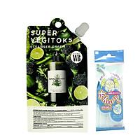 Sữa rửa mặt thải độc rau củ Wonder Bath Super Vegitoks Cleanser  Dạng Gói  30ml (Màu xanh) + tặng kèm 1 túi lưới rửa mặt tạo bọt