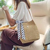 Túi cói đeo vai vintage đi biển đi chơi kèm khăn lụa - Smice House