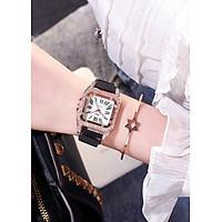 Đồng hồ nữ mặt vuông đính đá số la mã kèm lắc tay xinh xắn