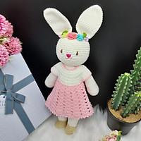 Gấu bông móc len Amigurumi cao cấp - Thỏ Lala trắng váy sò hồng quà tặng đồ chơi nhồi bông đáng yêu cho bé - SP000202
