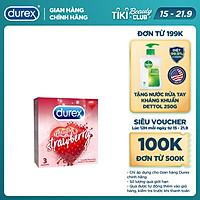 Bao cao su Durex Sensual Strawberry hộp 3 bao