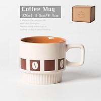 Cốc sứ nâu cao cấp uống trà, cafe 320ml phong cách vintage