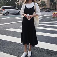 váy yếm hai dây dáng dài đầm suông đuôi cá phong cách Ulzzang màu đen hàng có size VY01