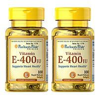 Thực Phẩm Chức Năng - Bộ 2 Viên Uống Bổ Sung Vitamin E Giúp Đẹp Da, Chống Lão Hóa, Hỗ Trợ Tim Mạch Puritan'S Pride Vitamin E-400 Iu (100 Viên)