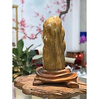 Đá Phong Thủy Caxedon - Mã Não Vàng Tự Nhiên - Đế Gỗ Mỹ Nghệ - Xuất Xứ: HBông Chư Sê, Gia Lai - KT: 42*34*11 cm (Tính cả đế) - TL: 8.4kg - Trang Trí Nhà Cửa - Đá & Gỗ A2VINA - D26