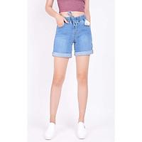 Quần short jean nữ ngắn đẹp lưng cao cạp chun trơn hàng hiệu cao cấp mã 447