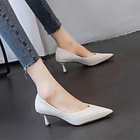 Giày cao gót nữ mũi sắt si đan cao cấp - Linus LN299