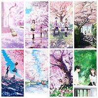 Poster 8 tấm ẢNH DÁN IN Tớ Muốn Ăn Tụy Của Cậu Full anime Kimi no Suizou wo Tabetai chibi
