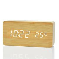 Đồng hồ LED báo thức đo nhiệt độ vỏ gỗ M1
