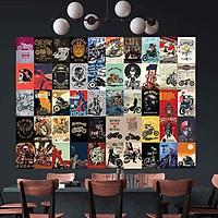 Set 50 tấm 22x30cm decal dán tường trang trí decor quán nhà cửa chủ đề Xe Motor - Biker
