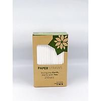 Hộp ống hút giấy (250 ống) size 6mm màu trắng sữa