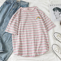 IELGY Rainbow striped loose tops ins tide
