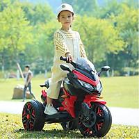 Xe máy điện moto 3 bánh trẻ em BNM 5188 đồ chơi đạp ga 2 động cơ (Đỏ-Trắng-Xanh-Vàng)
