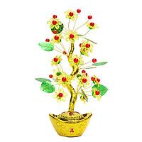 Cây Kim Tiền Tài Lộc Lá Xanh Hoa Mai Vàng May Mắn 14x29cm