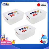 Combo 03 Hộp nhựa Nakaya 3L bảo quản thức ăn trong tủ lạnh, có nắp mềm - Hàng nội địa Nhật Bản