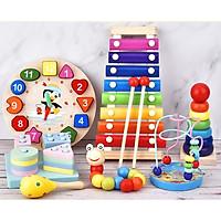 Combo 7 món đồ chơi cho bé phát triển trí tuệ (Đàn gỗ, tháp gỗ, luồn hạt, sâu gỗ, đồng hồ gỗ, thả hình 4 trụ, lục lạc tròn )