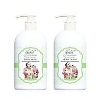 Combo 2 chai Sữa tắm Thebol tinh dầu thơm, thảo dược Hoa Hồng và Yến Mạch 338g