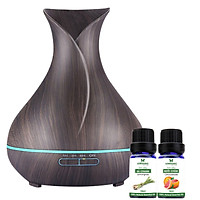 Combo máy khuếch tán tinh dầu bình hoa màu nâu FX2020 + tinh dầu sả chanh + tinh dầu bưởi chùm Lorganic (10ml x2) LGN0351
