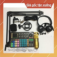 Mic thu âm livestream bm900 sound card k300 - bộ thu âm sound card k300 autotune bluetooth Chân kẹp Tai Nghe