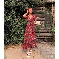 Đầm maxi hoa thiết kế napubee - váy maxi hoa FLORAL DRESS