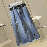 Women's Denim Skirt Summer High Waist Ripped Mid-length Large Size Split A-line Skirt