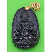 Mặt dây chuyền Phật Đại nhật như lai thạch anh đen 3.6 cm - Hộ mệnh người tuổi Mùi, Thân - Đem lại may mắn, thuận lợi trong cuộc sống