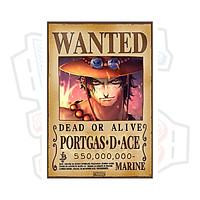 Poster Truy Nã Team Mũ Rơm Onepiece PORTGAS.D.ACE - bìa cứng kẹp sách A5 đẹp chất
