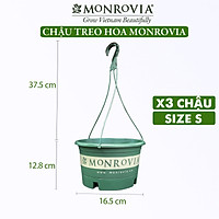 3 Chậu treo trồng cây MONROVIA Size S, Dòng T-series, chậu nhựa treo trang trí, trồng cây cảnh ban công, chậu trồng hoa, thiết kế tinh tế, thoát nước tốt, nhựa cao cấp PP, nhập khẩu, tiêu chuẩn Châu Âu