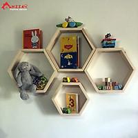 Kệ gỗ lục giác treo tường nhiều kích thước, kệ trang trí tổ ong Anzzar gắn tường