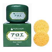 Combo kem dưỡng da lô hội Nhật bản Biorica ( 120g) + 2 miếng mút rửa mặt tiện lợi