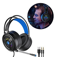 3.5mm Gaming Headset w/LED Light, Stereo Surround Sound, PSH-200 Gaming Headphones with Noise Cancelling Mic for PC Laptop