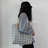 Túi vải canvas, túi tote nữ phong cách Ulzzang Hàn Quốc (Caro vuông bé)