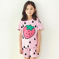 Bộ đồ ngắn tay mặc nhà cotton mịn cho bé gái U3027 - Unifriend Hàn Quốc, Cotton Organic