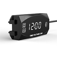 Multifunction 6V-30V 2 in 1 Voltmeter for Motorcycle Electric Vehicle Time Clock with Digital Display Panel Waterproof