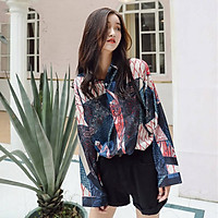 Women Clothes Autumn Floral Shirts Printed Harajuku Female Blouses Long Sleeve Loose Casual Gothic Stranger Things