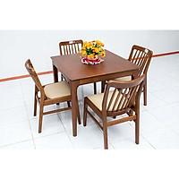 Bộ bàn ăn gỗ cao su Nội Thất Nhà Bên Nan 26 (Nâu)