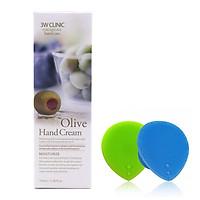 Kem dưỡng da tay Olive Hàn Quốc cao cấp 3W Clinic Olive Hand Cream (100ml) + Tặng Dụng Cụ Rửa và Massage Mặt Silicon Mềm Dẻo Hàn Quốc Suri Facial Cleansing Fad – Hàng Chính Hãng