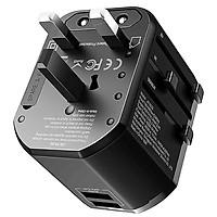 Adapter cóc củ sạc nhanh du lịch 3.4A đa năng hiệu Rock Multifunction Plug T20  hỗ trợ mọi ổ cắm mọi quốc gia trên thế giới - Hàng chính hãng
