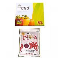 Combo Găng Tay Nilon Myungjin Dùng 1 Lần Hộp 50 Cái (24x28cm) + Ớt Bột Dea Joo Gói 200g Cao Cấp Hàn Quốc