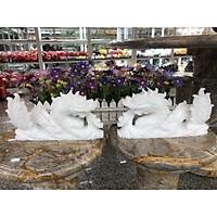 Cặp Rồng nằm phong thủy đá cẩm thạch trắng - Dài 30 cm
